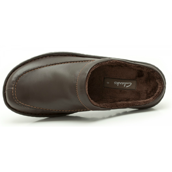 Clarks Mens Kite Vasa Brown Leather Slippers Available At
