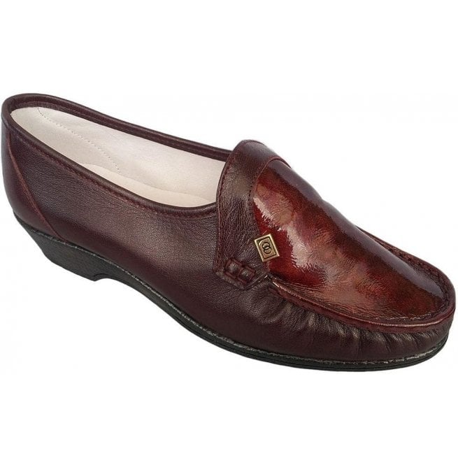 Marco Tozzi Patent Burgundy Leather Shoes