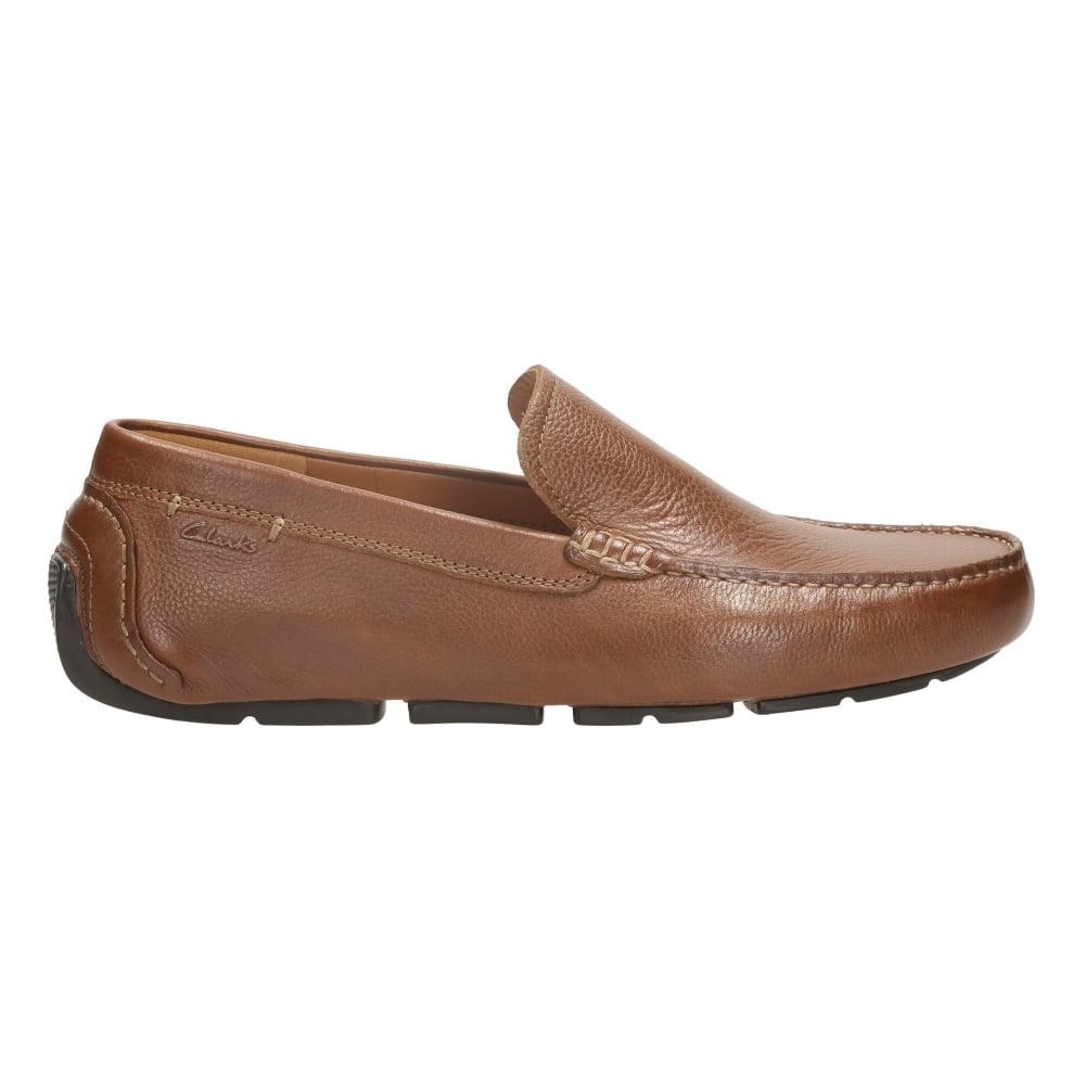 Clarks Mens Davont Drive Tan Interest Leather Loafers At