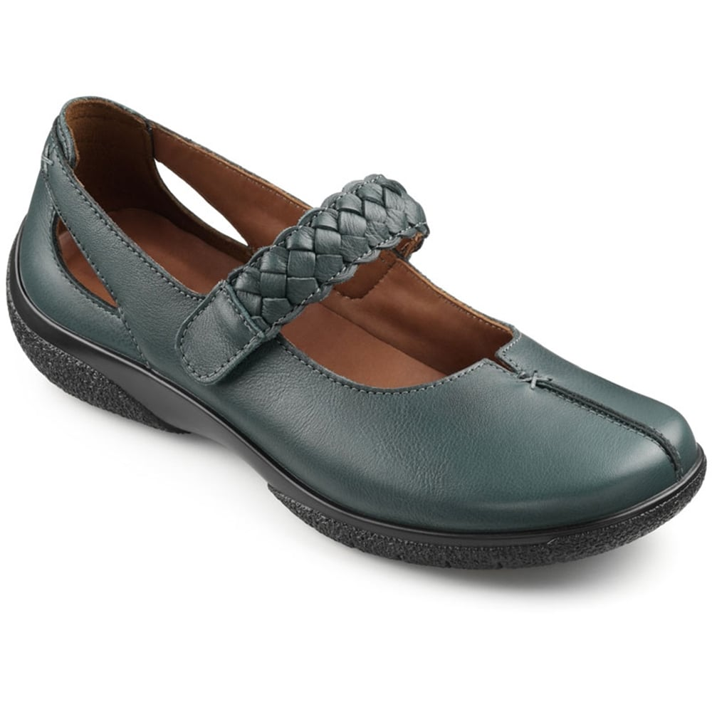 Hotter Womens Shake Dark Green Leather Strap Over Shoes