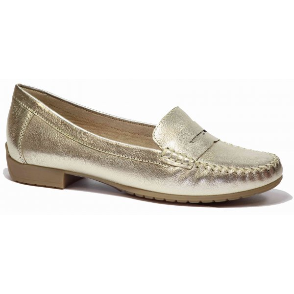 04b19f8e239 Caprice Womens Gold Leather Moccasins 9-9-24256-26 940