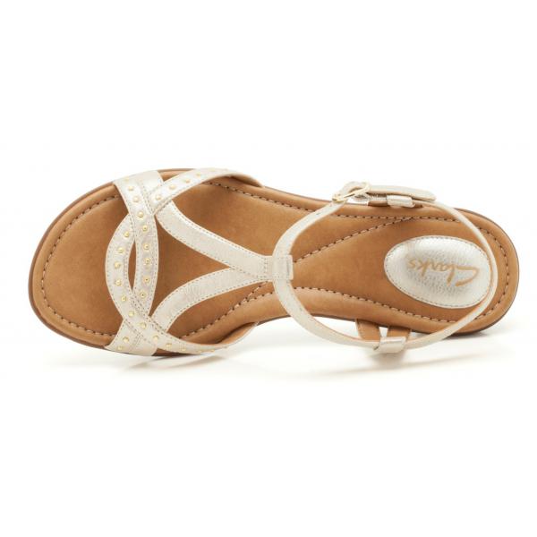 45d81559512e Clarks Ladies  Roya Hannah  Gold Leather Sandal
