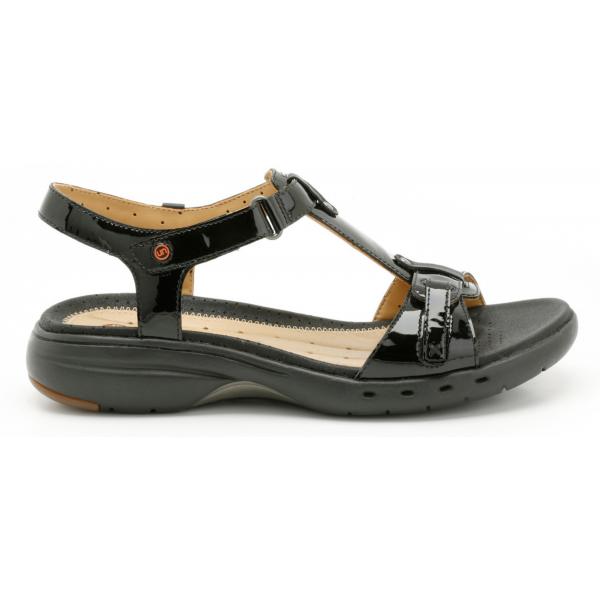 Clarks Ladies 'Un Swish' Black Patent Casual Sandals