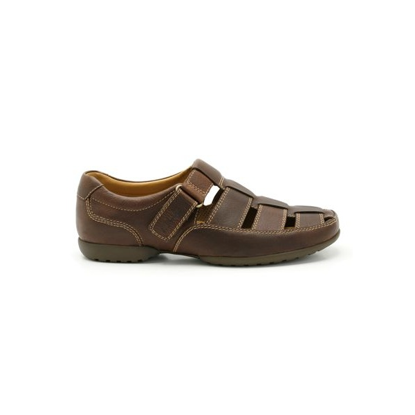 d9fc43053 Clarks Mens Recline Open Mahogany Leather Wide Fit Shoes