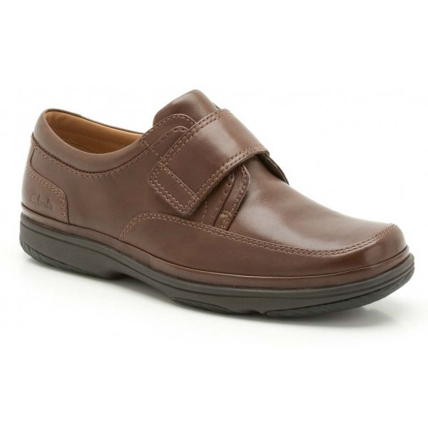 28eea69e8a5 Clarks Mens Swift Turn Walnut Leather Velcro Extra Wide Fitting Shoe