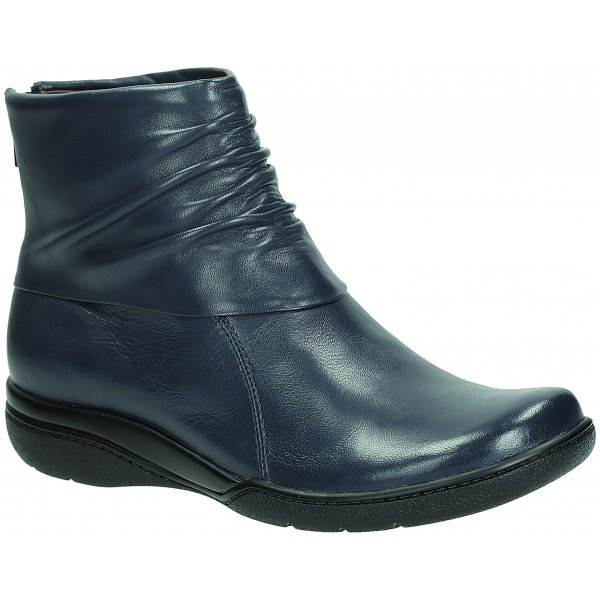 9dbc50fcfae30 Clarks Womens Kearns Blush Navy Leather Ankle Boot at Marshall Shoes