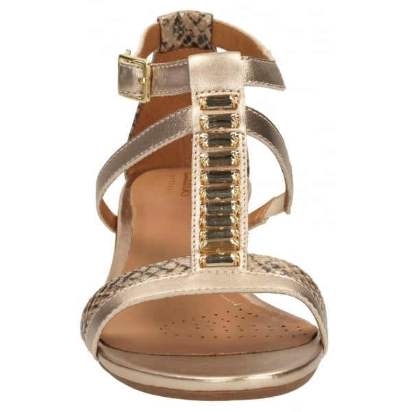 6f0784840a91 Clarks Ladies Playful Fox Metallic Combi Casual Sandals at Marshall ...