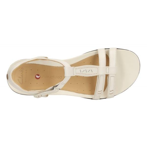 c0d9e1a8c Clarks Womens Un Vaze Off White Leather Sandals
