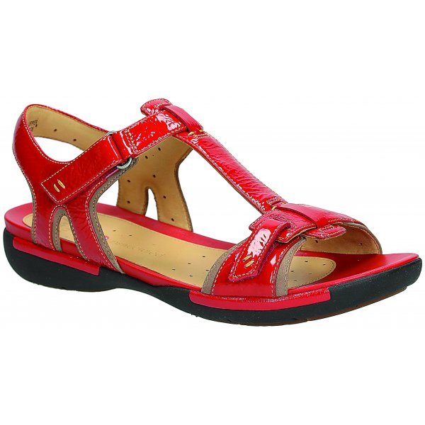 e0dc05d743c9c7 Clarks Womens Un Voshell Red Patent T-Bar Sandals at Marshall shoes
