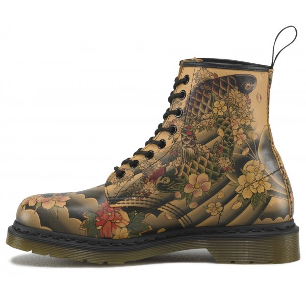 Dr Martens Ladies 1460 Tan Tattoo Sleeve Lace Up Boot 16556220