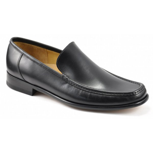 mens black leather moccasin shoes
