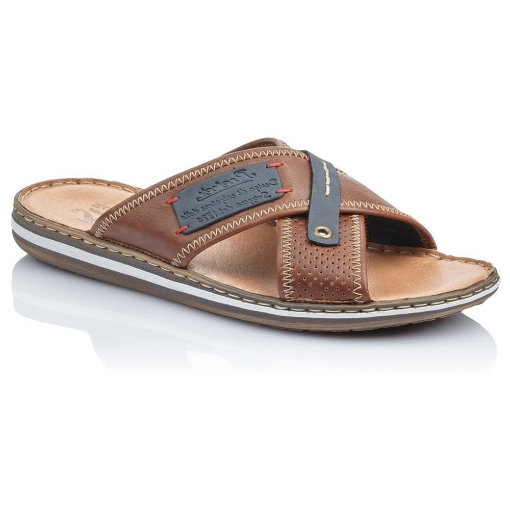 Rieker 21061-25 Tan Combi Slip-On Mule