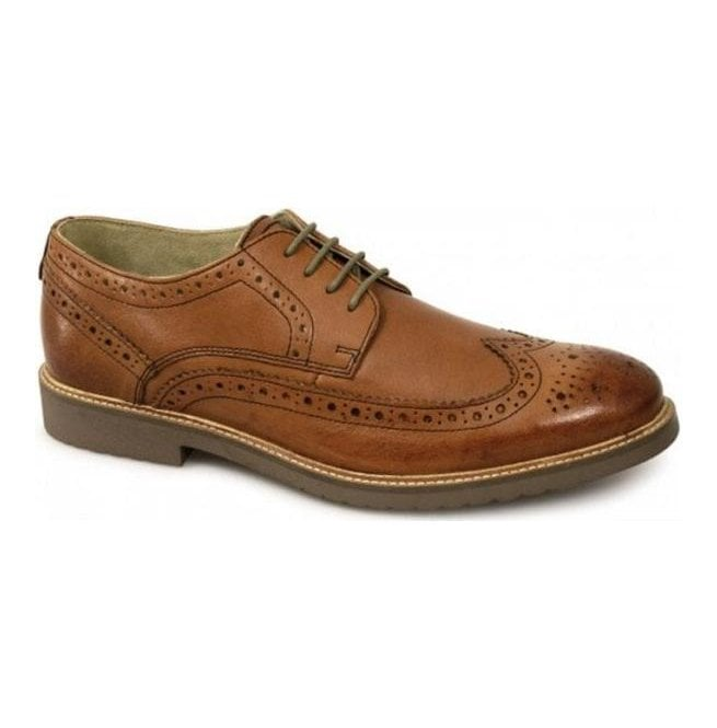 39cd29e520f201 Ikon Mens Almond Mid Tan Lace Up Derby Brogue Shoes
