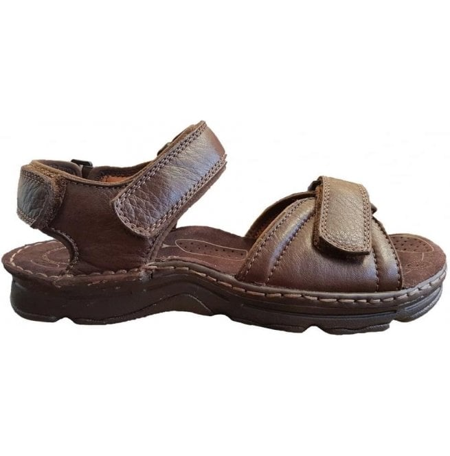 6fa39a6a02e7a Clarks Mens ATL Part Dark Brown Leather Velcro Strap Sandals ...