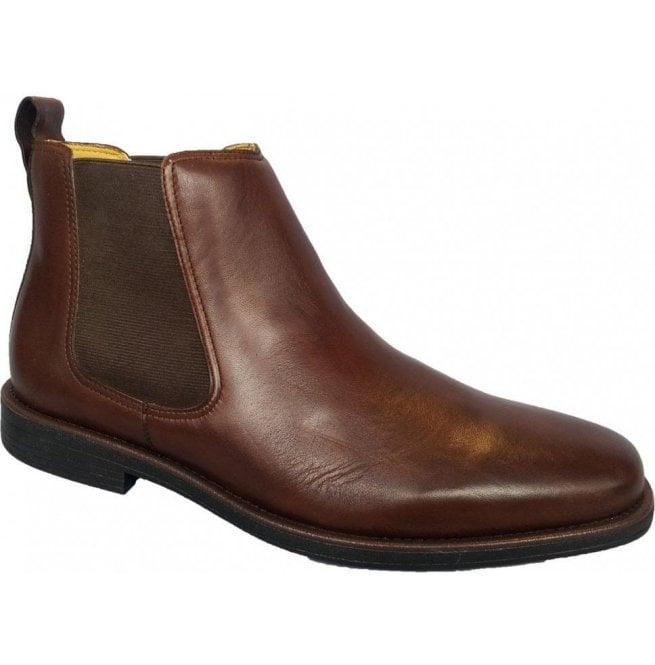 c7d7f809bce Mens Austin Dark Brown Leather Pull On Chelsea Boots