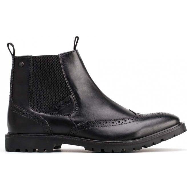 18d99b7044bc Base London Base London Mens Bosworth Waxy Black Leather Brogue Chelsea  Boots