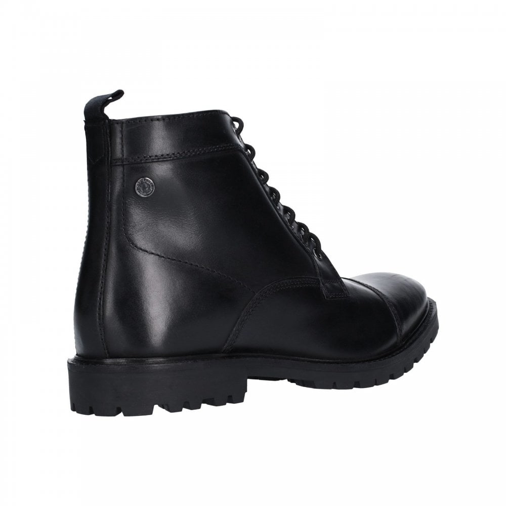 105c6408536 Mens Brigade Black Washed Leather Lace-Up Boots