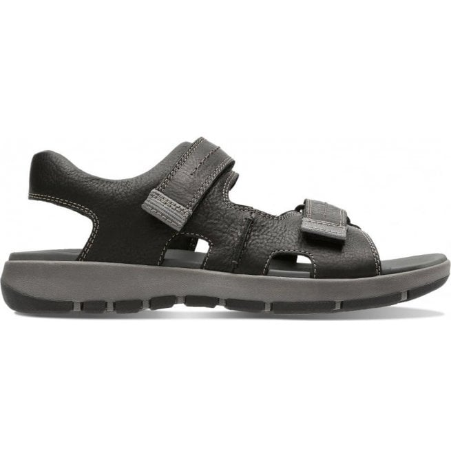 17eb32ad992 Clarks Clarks Mens Brixby Shore Black Leather Velcro Sandals 26131545