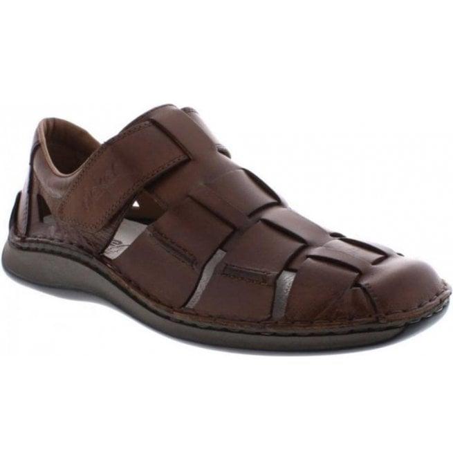 6dc42ab1bafb Rieker Mens Brown Leather Velcro Sandals 05273-25