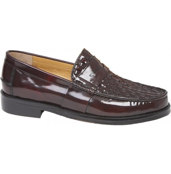 7fd755f69bc1e Delicious Junction Mens Brummell Weave Oxblood Slip-On Loafer