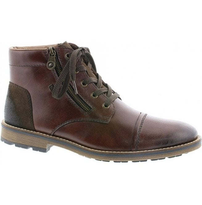 Rieker Rieker Mens Burnei Brown Leather Lace Up Waterproof Ankle Boots  F5530-26 3d8d3f9c2bc