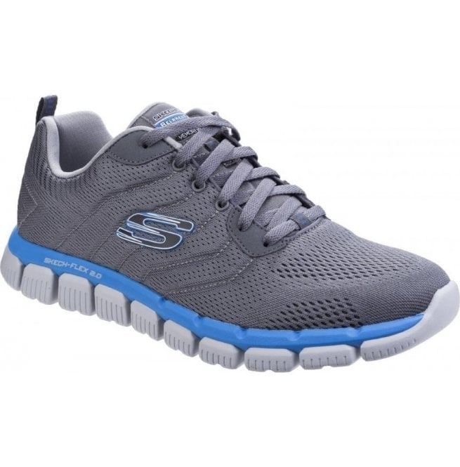 Skechers Mens CharcoalBlue Skech Flex 2.0 Milwee Lace Up Trainers SK52619
