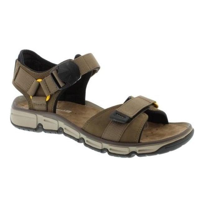 6e5907c68b6754 Clarks Clarks Mens Explore Part Mushroom Nubuck Leather Strap Sandals