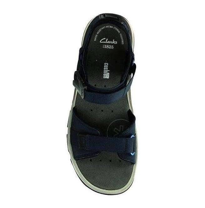 77e7fd55973a Clarks Mens Explore Part Navy Nubuck Leather Strap Sandals