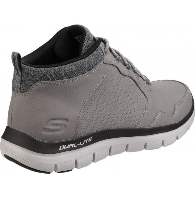 Skechers Flex Advantage 2.0 High Key Mens Trainers Leather High Tops Shoes Grey