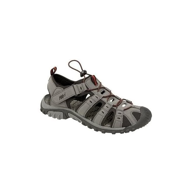 fdb04679930 PDQ PDQ Mens Grey Red Velcro Touch Fastening Sandals M040F