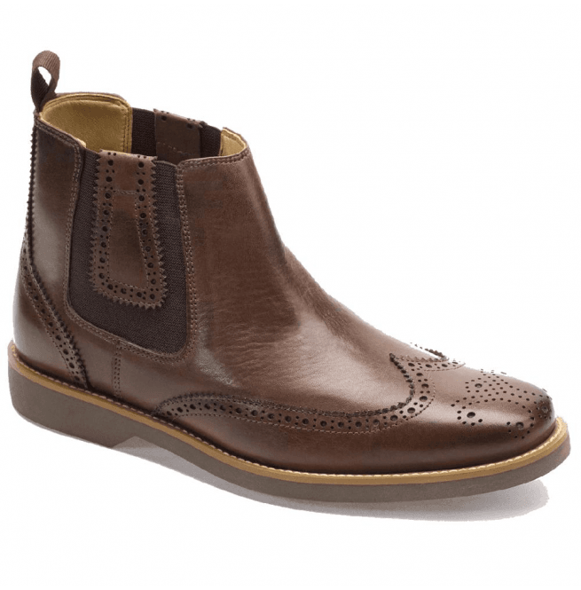 edee51c1ce1a1 Mens Gustavo Coffee Touch Brogue Chelsea Boots