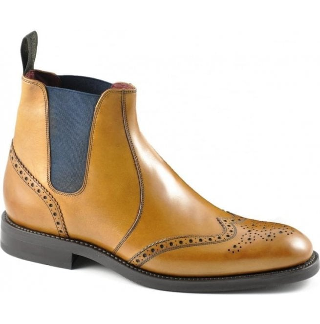 93703420e0e Mens Hoskins Tan Leather Brogue Boots