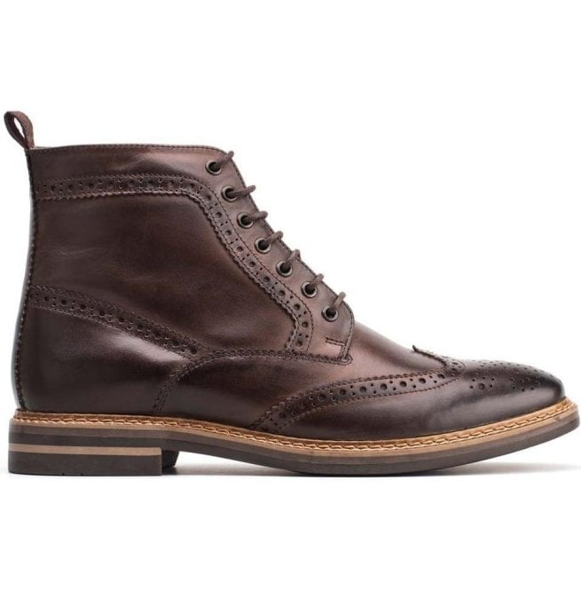5be0d2377d01a Base London Base London Mens Hurst Burnished Cocoa Leather Lace Up Brogue  Boots