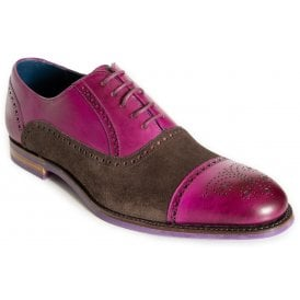 06936129bc171 Mens Jax Purple Stain Leather/Choc Suede Brogue Lace-Up Shoes