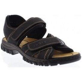 Rieker Mens Lava Dark BrownBlack Velcro Strap Sandals 26061 25