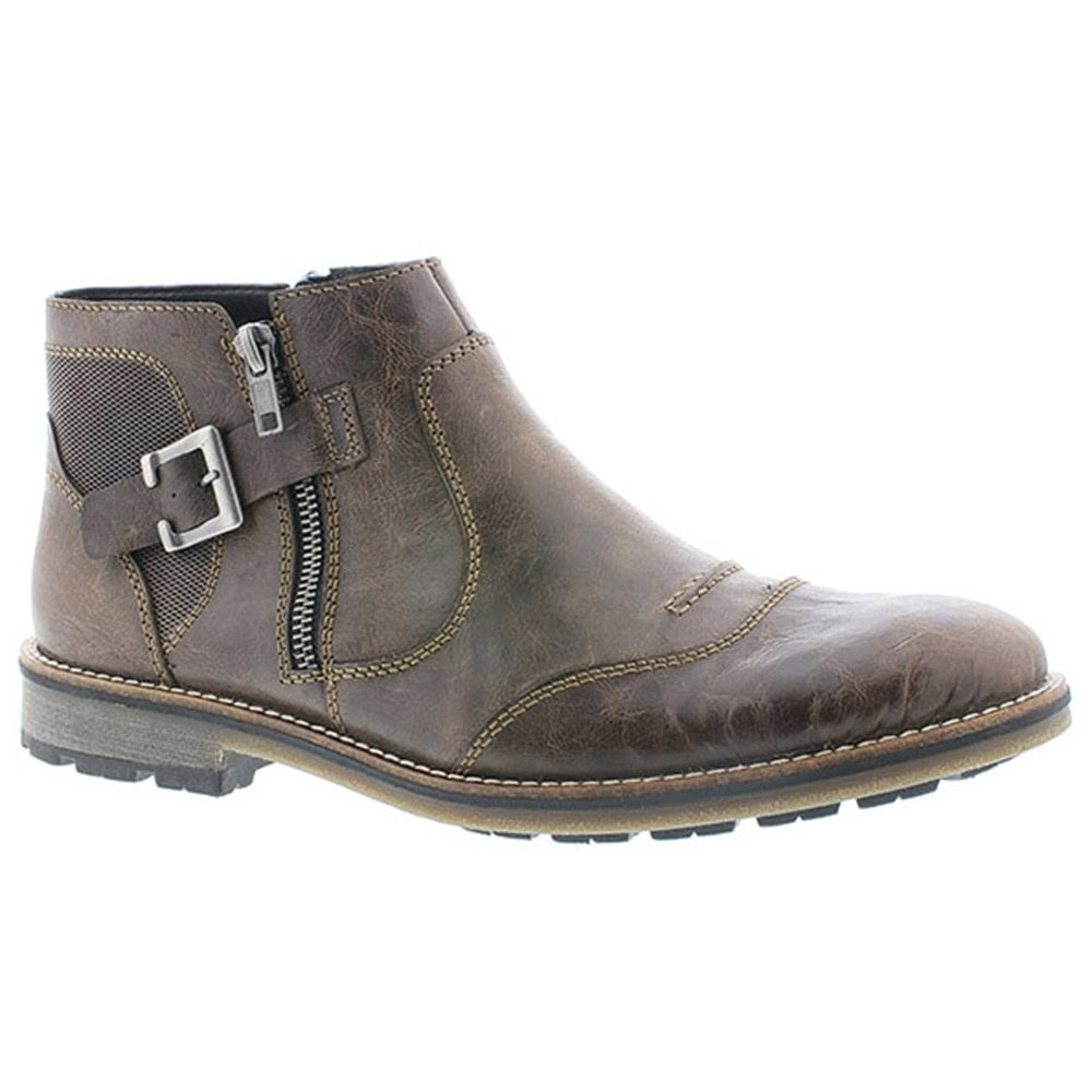 24feb12df0 Rieker Mens Lima Brown Leather Zip Up Ankle Boots F5550-45