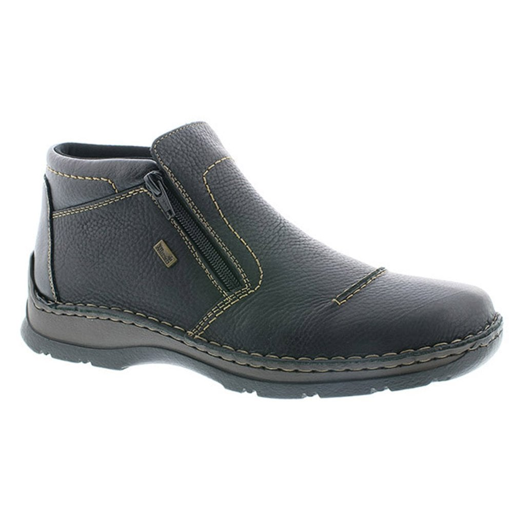 Rieker Mens Michigan Black Leather Zip Up Water Resistant Ankle Boots 05372 00
