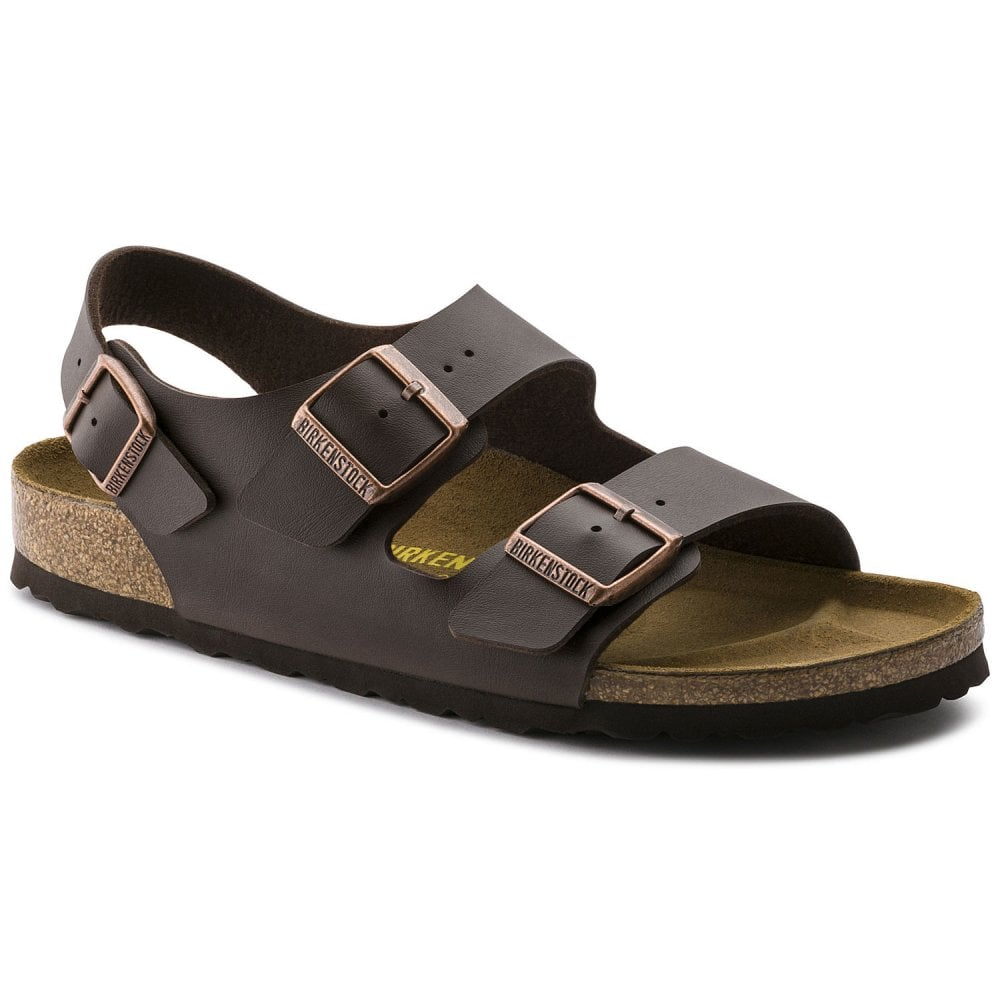 82ba6544b9d6 Birkenstock Birkenstock Mens Milano Dark Brown Triple Strap Buckle Sandals  34701