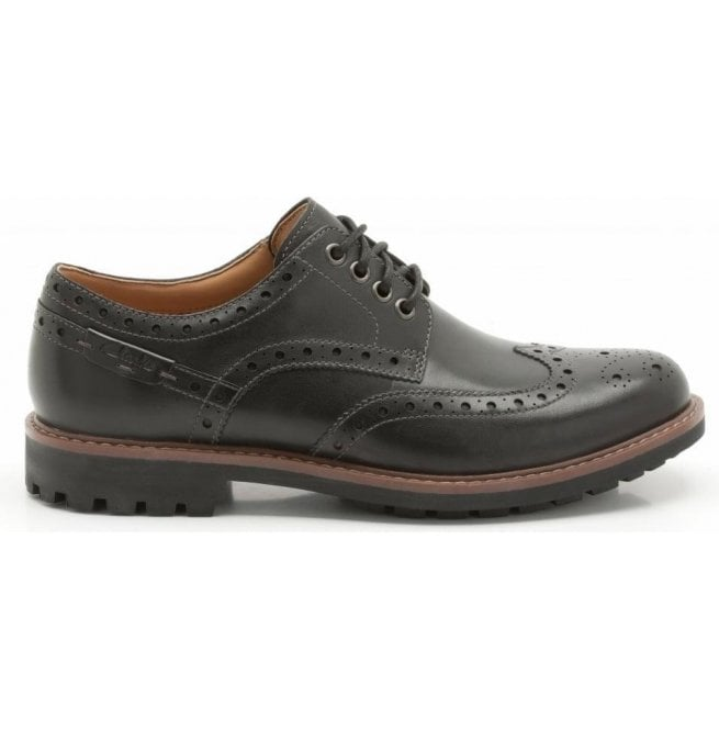 b592fe0f14142 Clarks Mens Montacute Wing Black Leather Tie Shoes