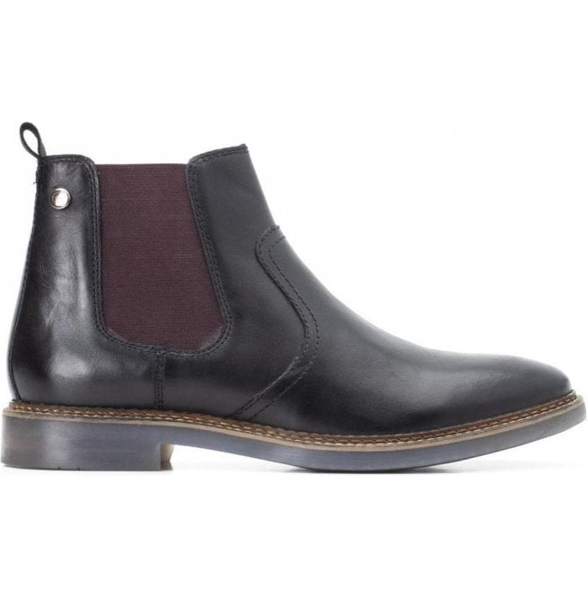 2a941630fd07 Base London Base London Mens Piper Black Waxy Leather Pull-On Ankle Boots