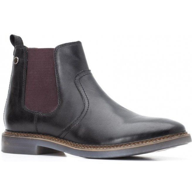 a71fa3b2e5 Base London Base London Mens Piper Black Waxy Leather Pull-On Ankle Boots