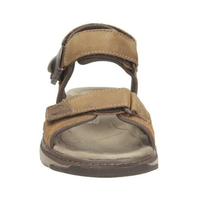 629a9f1ee3cc Clarks Mens Raffe Sun Tan Nubuck Leather Strap Sandals