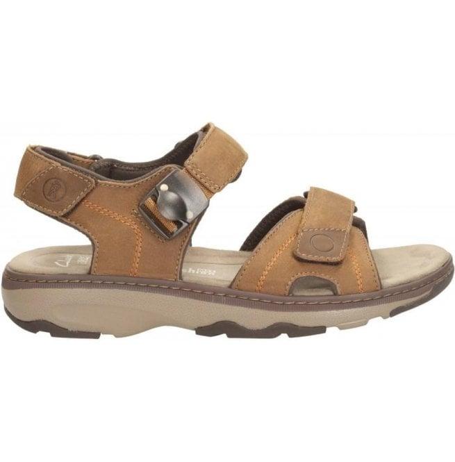 be7da7b3c9e2 Clarks Clarks Mens Raffe Sun Tan Nubuck Leather Strap Sandals