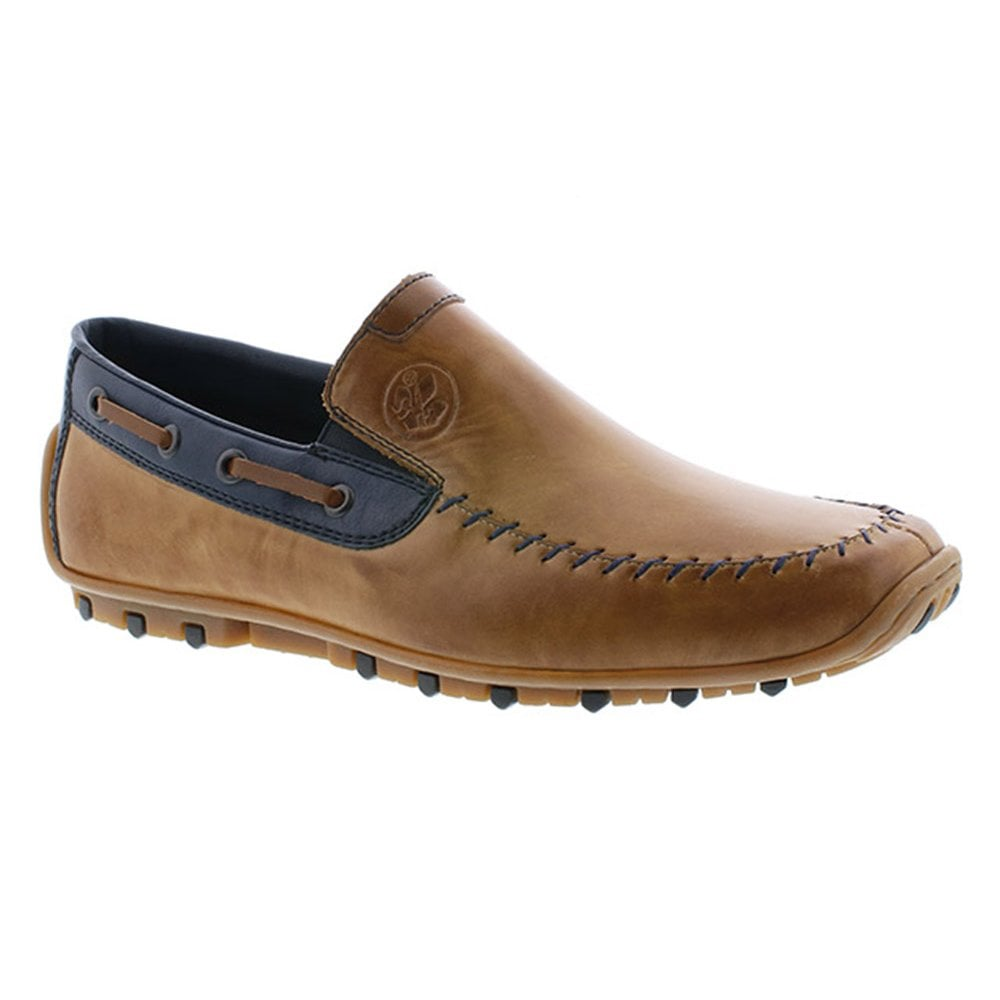 fb2e7bd4 Rieker Rieker Mens Ramon Toffee Leather Slip On Loafer Driving Shoes 08970- 25