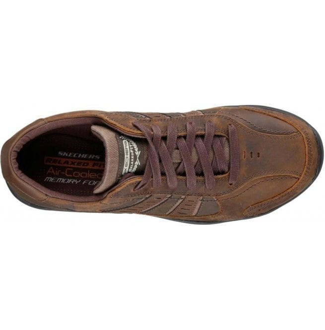 Mens Relaxed Fit Larson Nerick Dark Brown Leather Trainers 64833 106a33ba7
