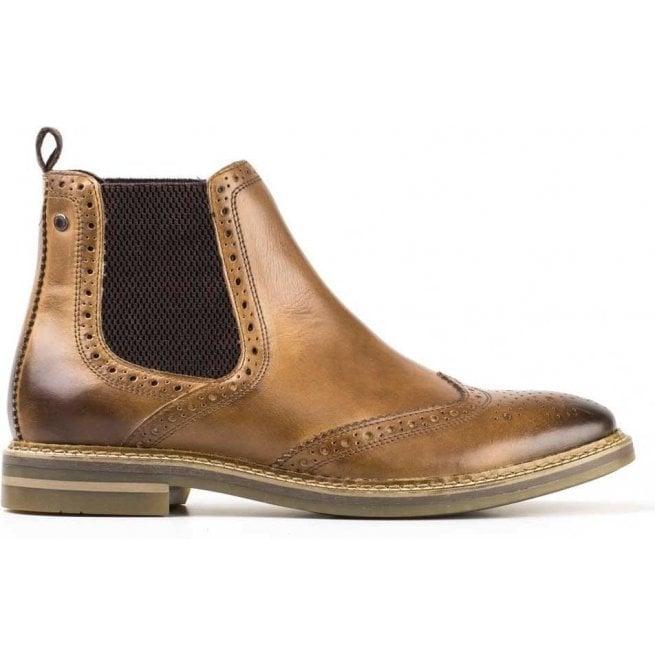 ed53341559e1 Base London Mens Riley Burnished Tan Leather Brogue Chelsea Boots