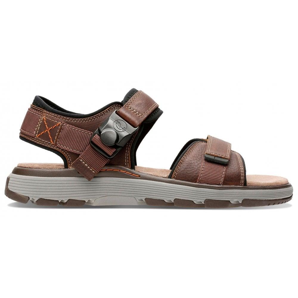 577c8f68a5 Clarks Clarks Mens Un Trek Part Dark Tan Leather Velcro Strap Sandals  26131860