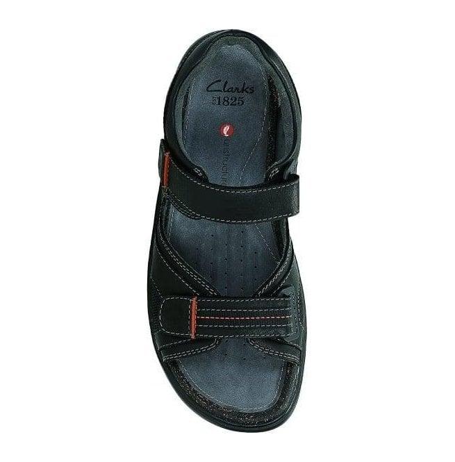 c124be076ef Clarks Mens Unwilmore Sun Black Leather Strap Sandals