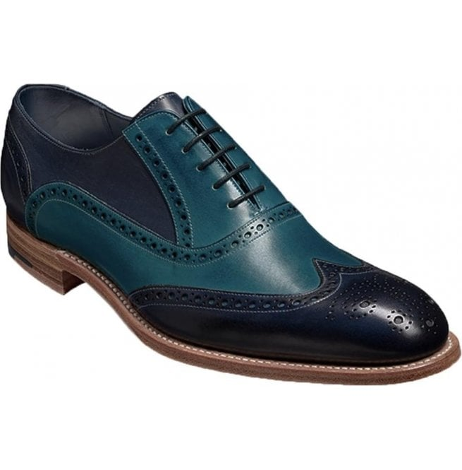 33eb128d Barker Barker Mens Valiant Navy/Blue Hand Painted Lace-Up Brogue Shoes