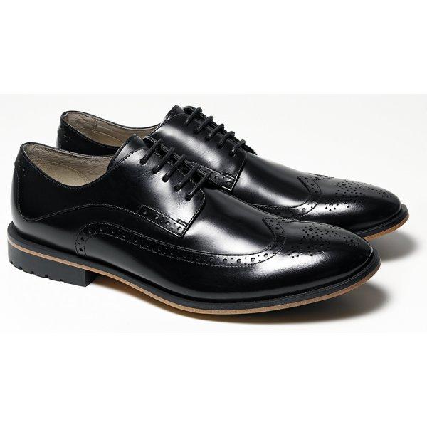 ... Clarks Mens Gatley Limit Black Leather 5 Eyelet Brogue Shoe. ‹